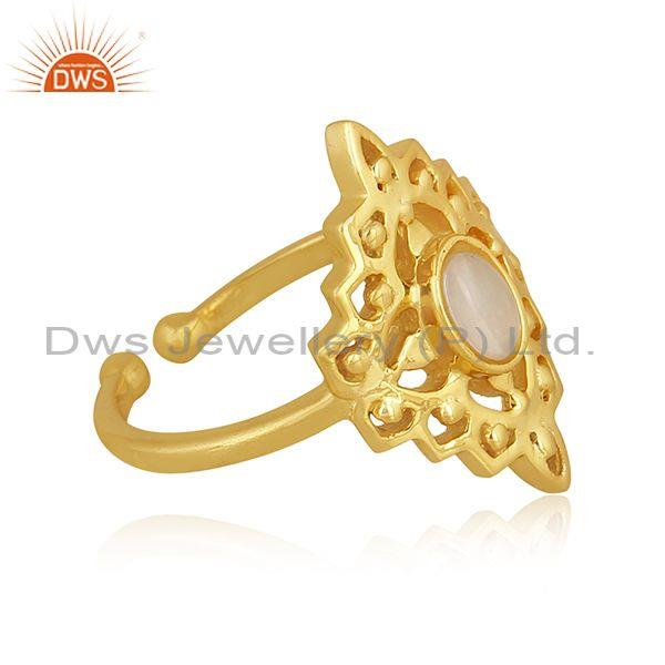 Ethiopian opal set gold on 925 silver traditional fancy ring