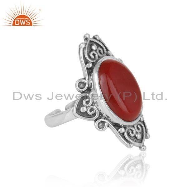Designer of Handmade bold textured ring in oxidized silver with red onyx