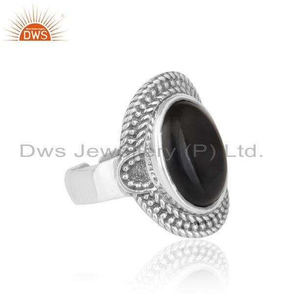 Designer of Handcrafted twisted designer black onyx ring in oxidized silver