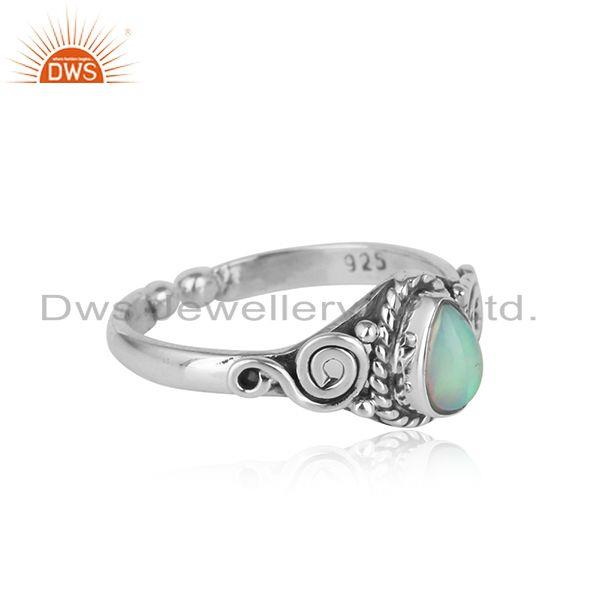 Designer of Handcrafted dainty textured ethiopian opal ring in oxidized silver