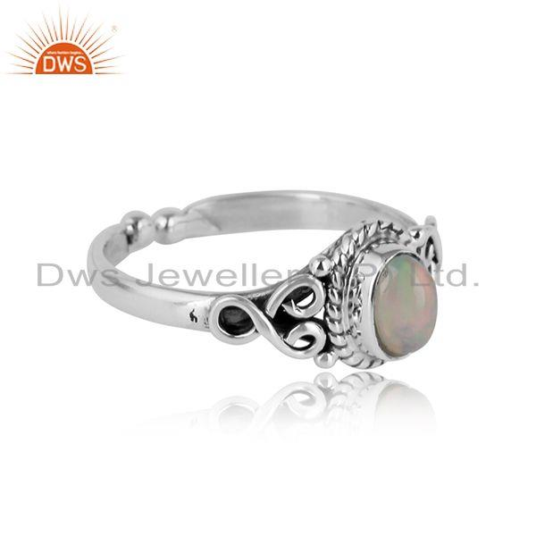 Designer of Handcrafted designer dainty ethiopian opal ring in oxidized silver