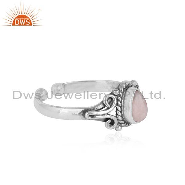 Designer of Designer handmade dainty pink opal ring in oxidized silver 925