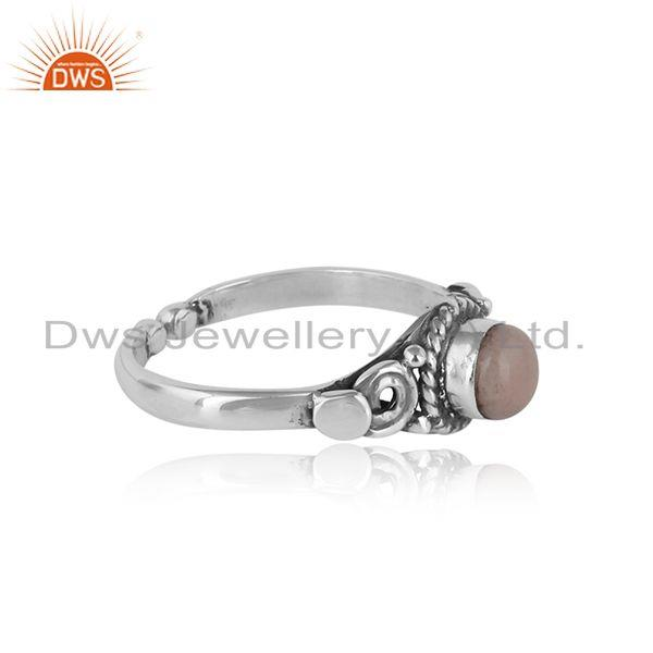 Designer of Handcrafted designer dainty pink opal ring in oxidized silver 925