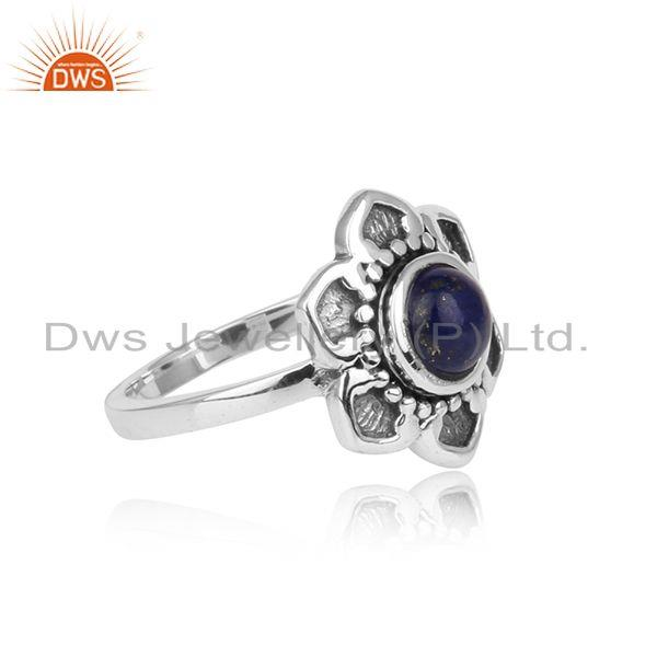 Designer of Handcrafted classic ring in oxidised silver 925 with natural lapis