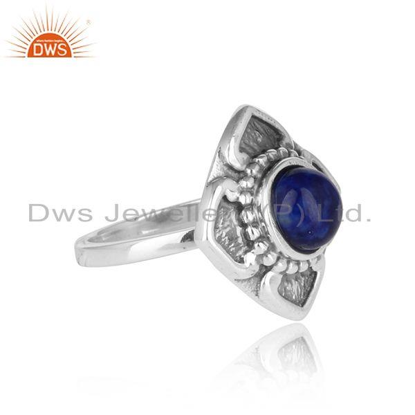 Designer of Handmade classic designer ring in oxidised silver 925 with lapis