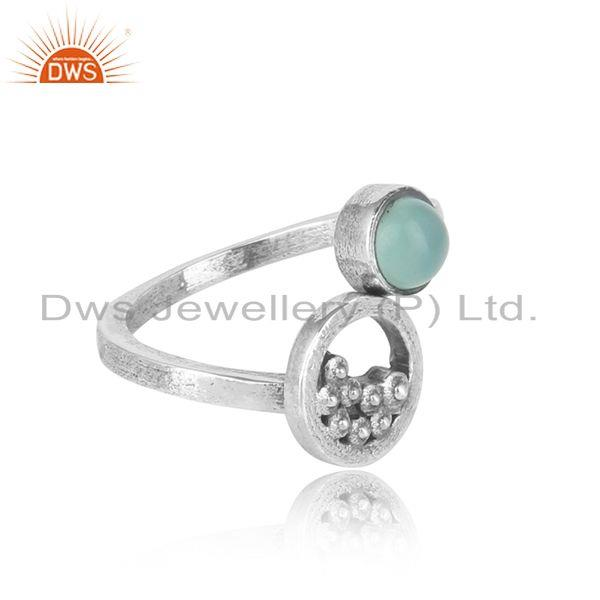 Designer of Handcrafted silver granule bypass aqua chalcedony oxidized ring