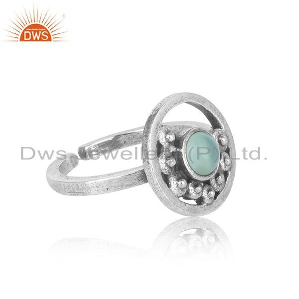 Designer of Handcrafted designer aqua chalcedony ring in oxidized silver 925