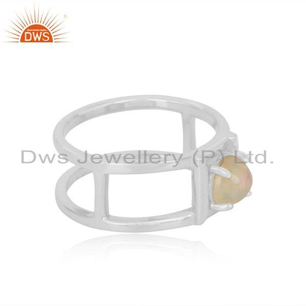 Designer of Designer double shank sterling silver ring with ethiopianopal