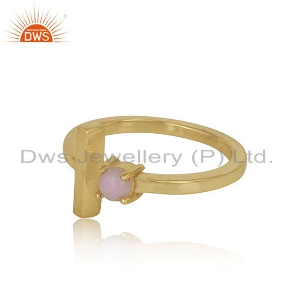Designer of Handcrafted designer gold on silver single bar ring with pink opal