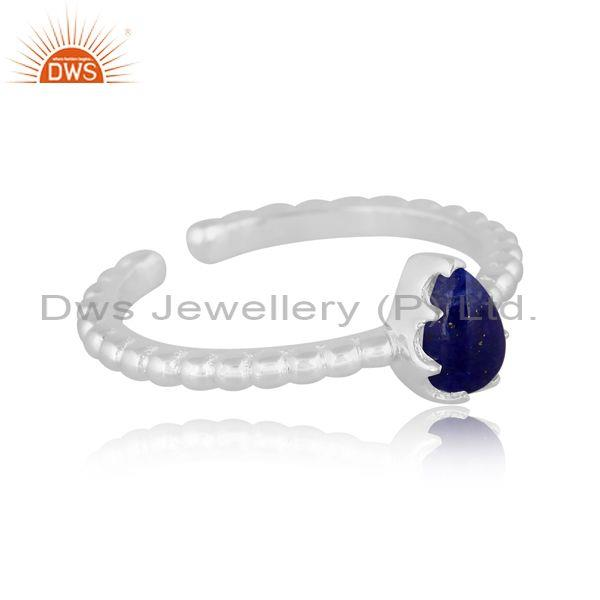 Pear cut lapis set fine 925 sterling silver statement ring