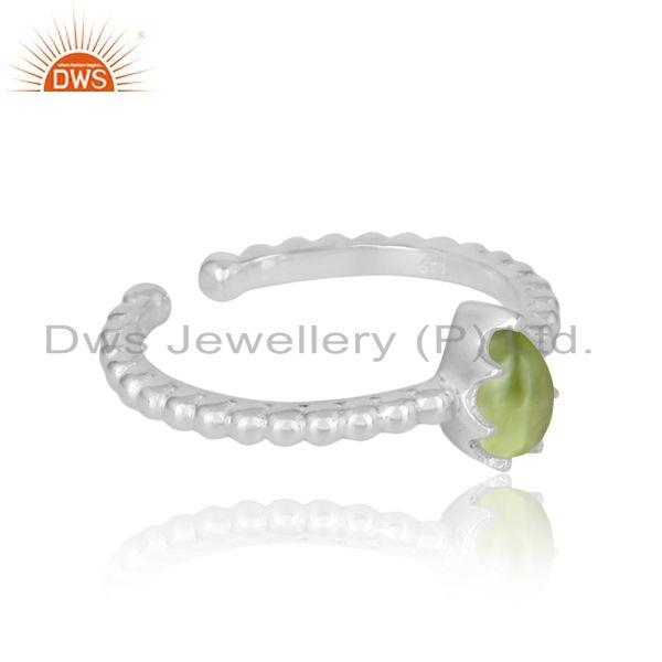 Designer of Designer textured dainty sterling silver 925 ring with peridot