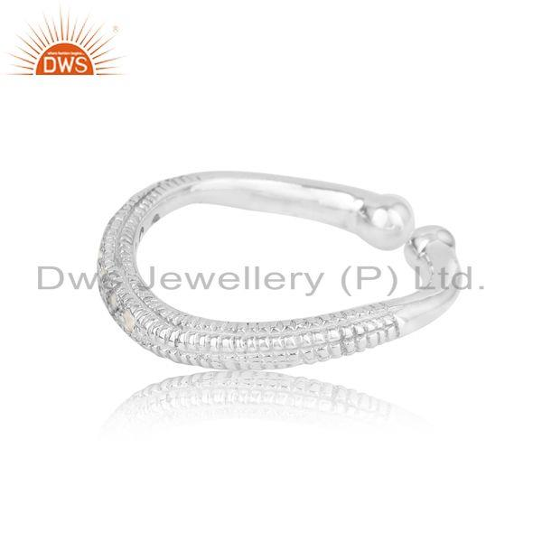 Designer of Textured handmade stackable silver 925 ring with white topaz