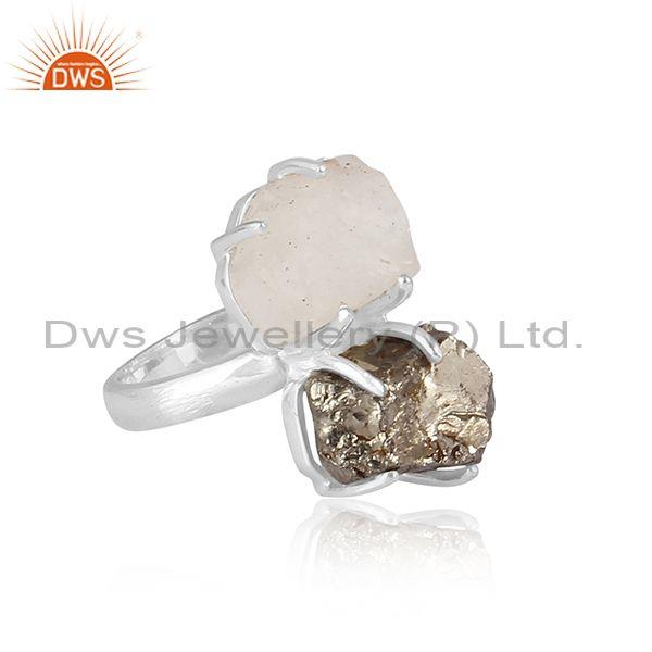 Libyan desert glass and pyrite set fine sterling silver ring