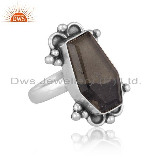 Doublet apache gold crystal set oxidized silver ethnic ring