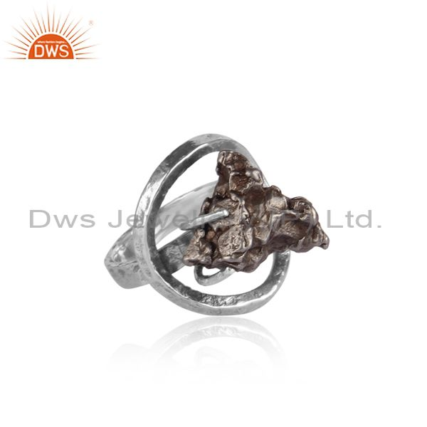 Meteorite set oxidized 925 silver designer abstract ring