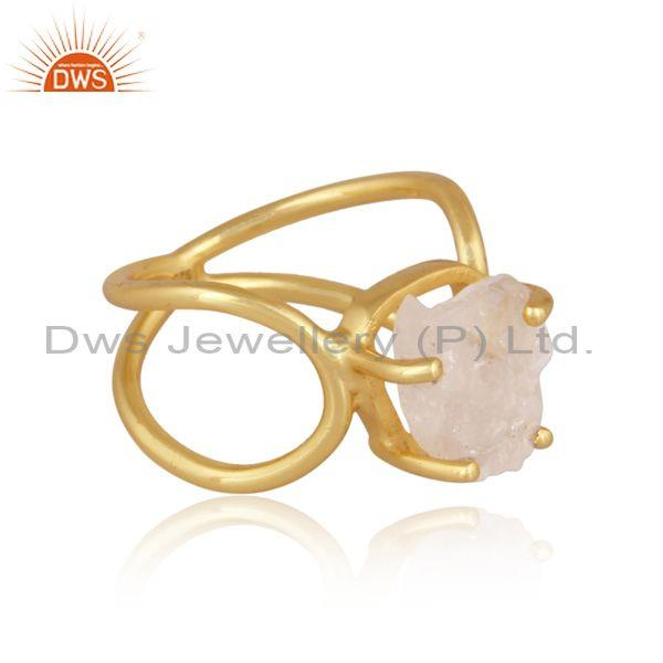 Rough cut rose quartz gold on sterling silver abstract ring