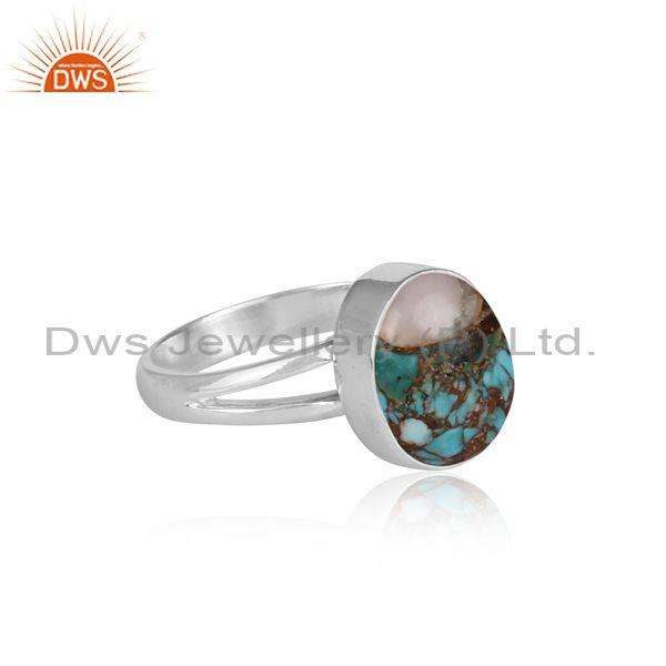 Mojave copper pink opal turquoise fine silver designer ring