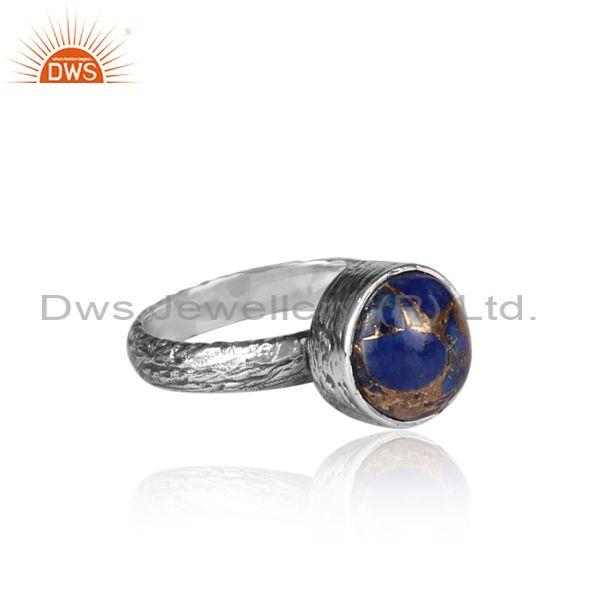Round mojave copper lapis oxidized 925 silver textured ring
