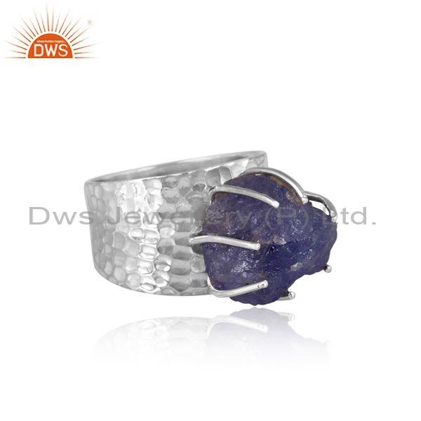 Tanzanite set oxidized silver handhammered band style ring