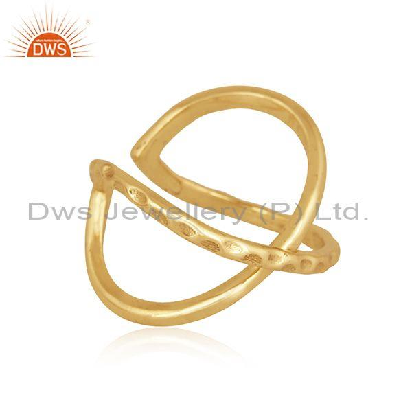 Handmade and handhammered brass gold abstract designer ring