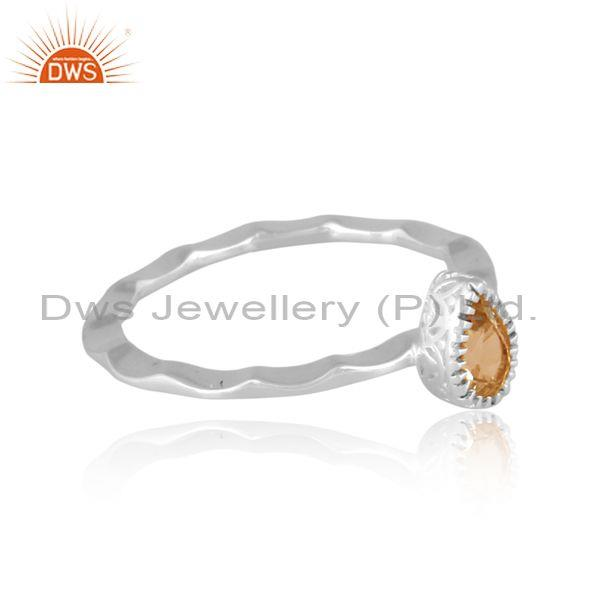 Pear cut citrine set fine sterling silver handhammered ring