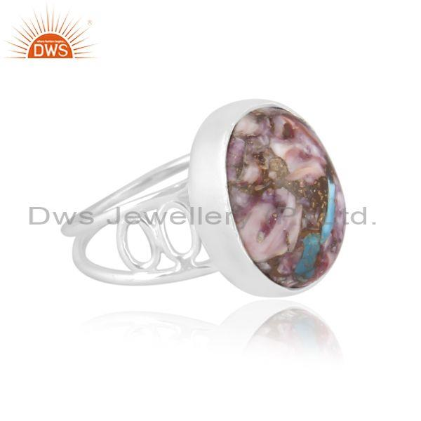 Mojave copper purple oyster turquoise 925 fine silver ring