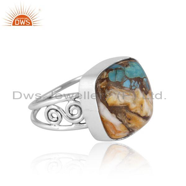 Mojave copper oyster turquoise oxidized 925 silver ring