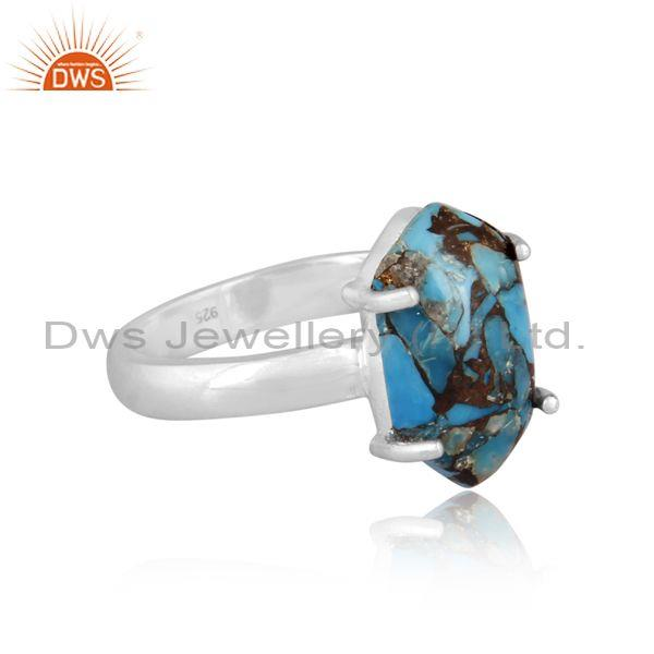 Rough cut mojave copper turquoise set fine 925 silver ring