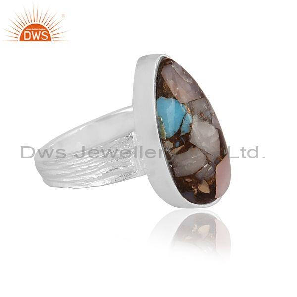 Pear mojave copper pink opal turquoise fine silver ring