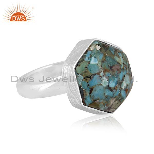 Fine sterling silver boulder turquoise set band style ring