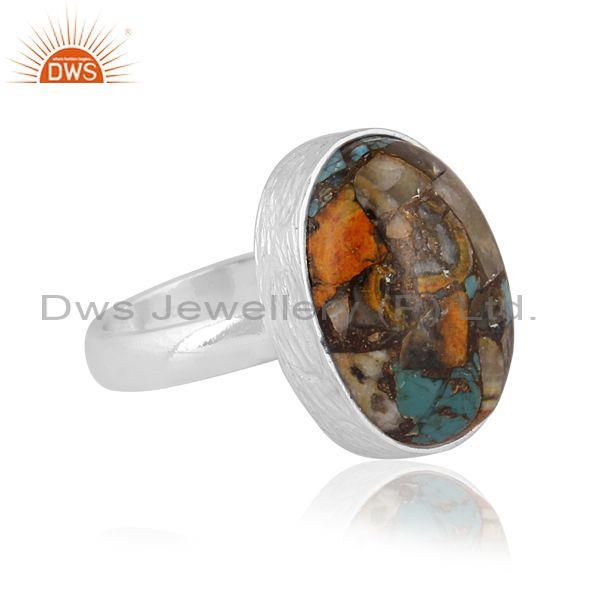 Oval mojave copper bumblebee turquoise set fine silver ring