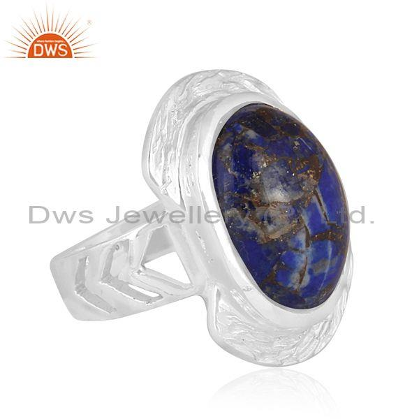 Oval mojave copper lapis set fine 925 sterling silver ring