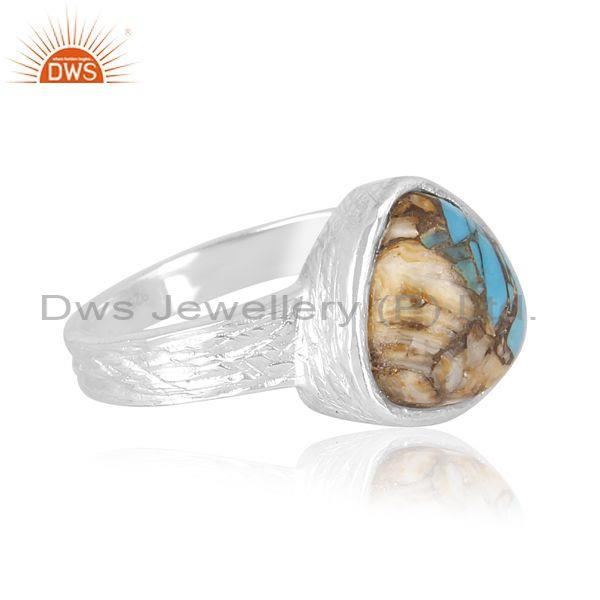 Mojave copper oyster turquoise set fine 925 silver band ring