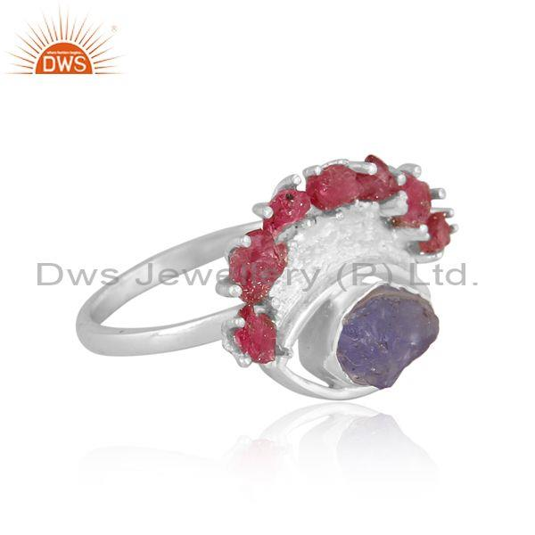 Rough cut spinel ruby and tanzanite fine silver fancy ring