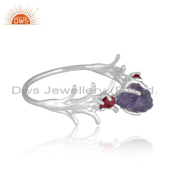 Rough cut spinel ruby and tanzanite set fine silver ring