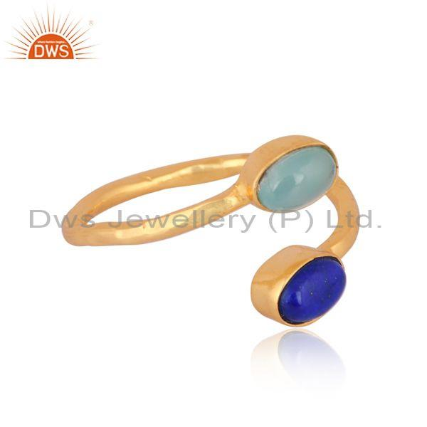 Aqua chalcedony and lapis set gold on 925 silver twist ring