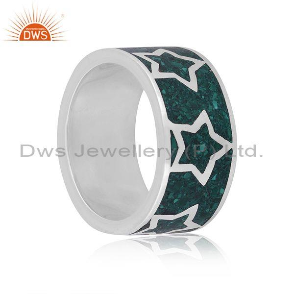 Malachite coin set fine 925 silver starts embossed ring