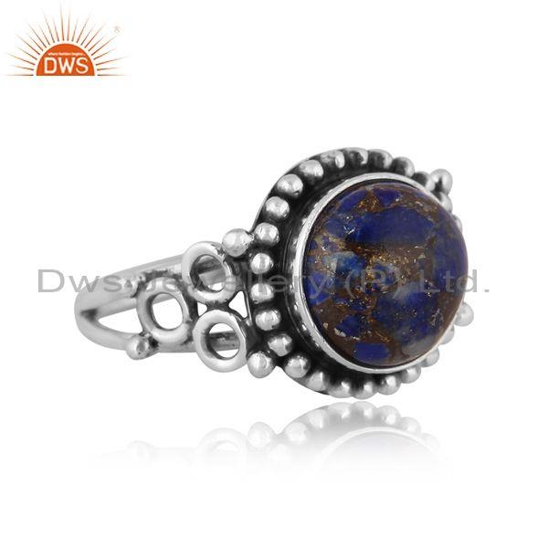 Round mojave copper lapis set oxidized sterling silver ring