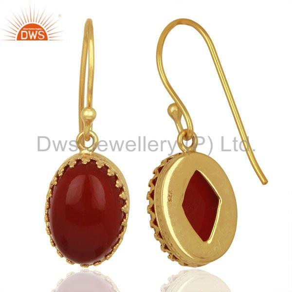 Suppliers New Arrival Gold Plated Sterling Silver Carnelian Gemstone Earring