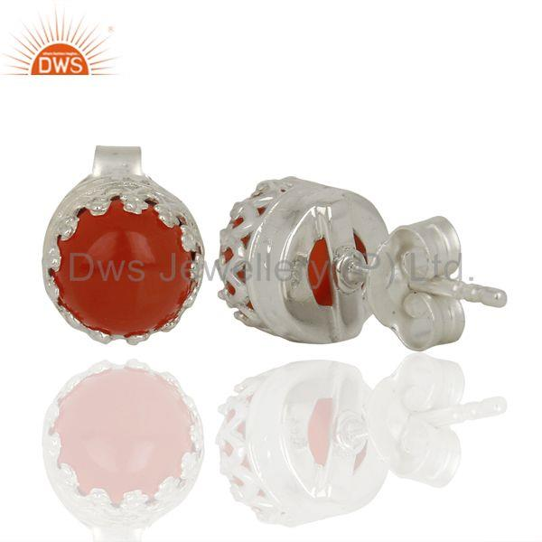 Suppliers Wholesale Sterling Fine Silver Carnelian Gemstone Womens Stud Earrings