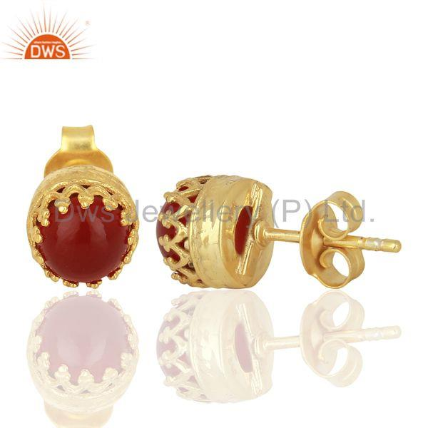 Suppliers Crown Design Gold Plated 925 Silver Carnelian Gemstone Stud Earrings
