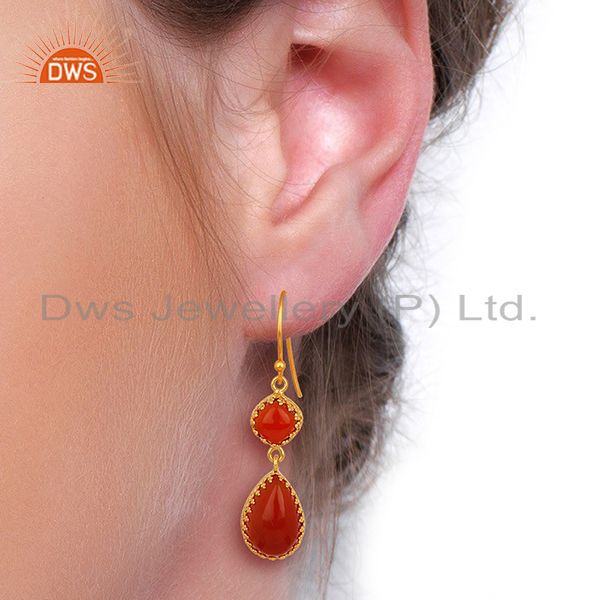 Suppliers Yellow Gold Plated Silver Carnelian Gemstone Dangle Drop Earrings