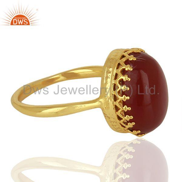 Suppliers Crown Design Gold Plated Silver Ring Carnelian Gemstone Wedding Ring