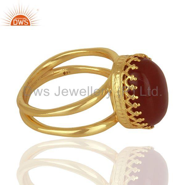Suppliers Gold Plated Silver Engagement Ring Carnelian Gemstone Ring Jewelry