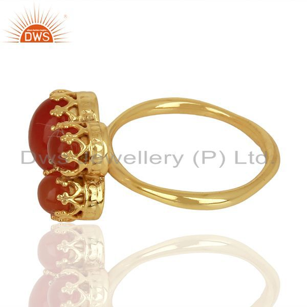 Suppliers Indian Crown Design Gold Plated Silver Ring Carnelian Gemstone Rings