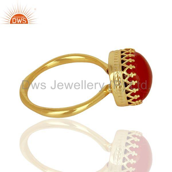 Suppliers Indian Gold Plated 925 Silver Crown Design Gemstone Ring Jewelry