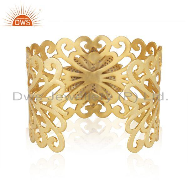 Suppliers Green Onyx CZ Designer Filigree Gold Plated Fashion Cuff Bangle Jewelry