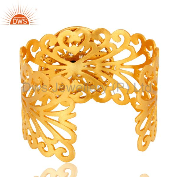 Suppliers Cubic Zirconia And Black Onyx 18K Yellow Gold Plated Wide Cuff Bracelet Jewelry