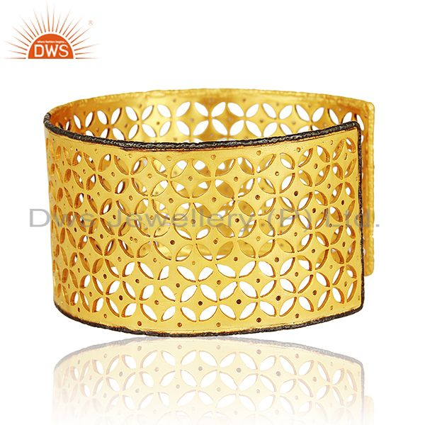 Suppliers 22K Yellow Gold Plated Sterling Silver Cubic Zirconia Fashion Wide Cuff Bracelet