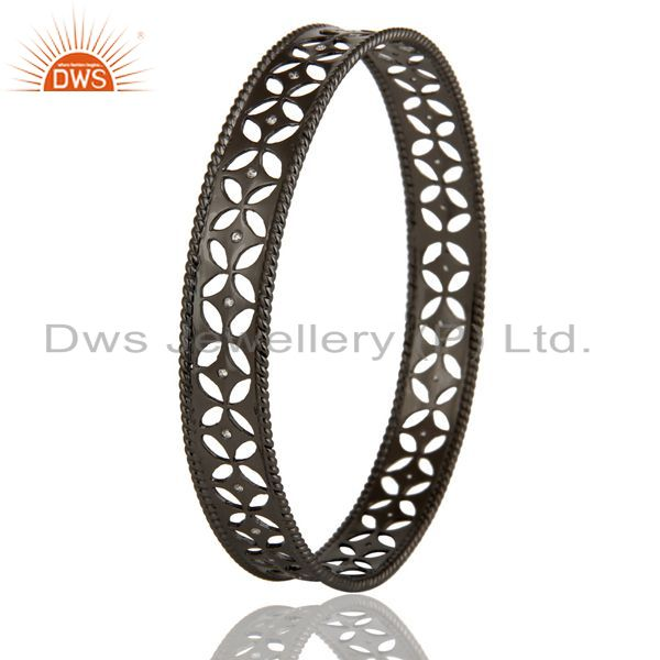 Wholesalers of Xmas gifts black oxidized 925 silver crafted bangle cubic zirconia